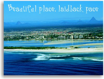 Aerial view of Caloundra, Bribie Island, Pumicestone Passage & the nearby Glasshouse Mountains.